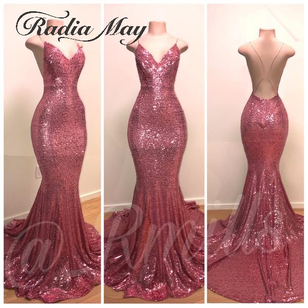 Sexy V-Neck Open Back Rose Pink Sequin Prom Dresses With Straps Criss Cross Long Black Girls Graduation Party Gowns Gala Dress