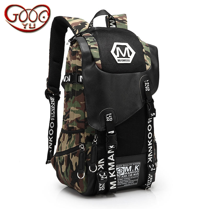 Korean version of the canvas vertical men hit the color shoulder bag fashion trend large-capacity water-proof bag cover backpack runner