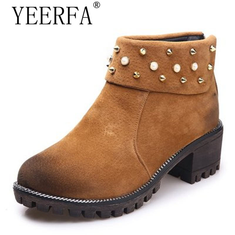 YIERFA Rivet Decoration Ankle Boots Women Fashion Leisure Shoes with Zip Women Thick Heel Autumn and Winter Boots size 35-39 autumn and winter short cylinder boots with high heels boots shoes martin boots women ankle boots with thick scrub size35 39