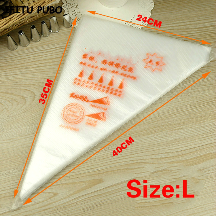 Image 2 - 50PCS Small/Large Size Disposable Piping Bag Icing Fondant Cake Cream bag Decorating Pastry Tip Tool GYH-in Dessert Decorators from Home & Garden