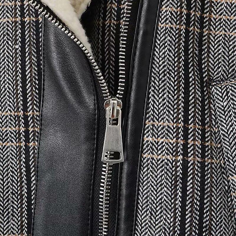 Chaud Manteau Plaid Veste 2018 Femmes D'hiver Agneau Épais Zipper Court Vintage Laine Coréenne Outwear De P8n0OkwX