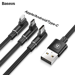 Baseus 90 Degree 3 in 1 USB Cable For iPhone XS Max XR X 8 7 6 6S Charging Charger Cord Micro USB Cable Type-c USB Type C Cable