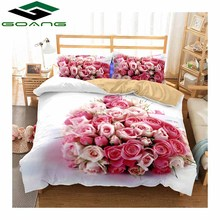 GOANG 3d bedding sets bed sheet duvet cover pillow case digital printing rose lover 3pcs luxury home textiles