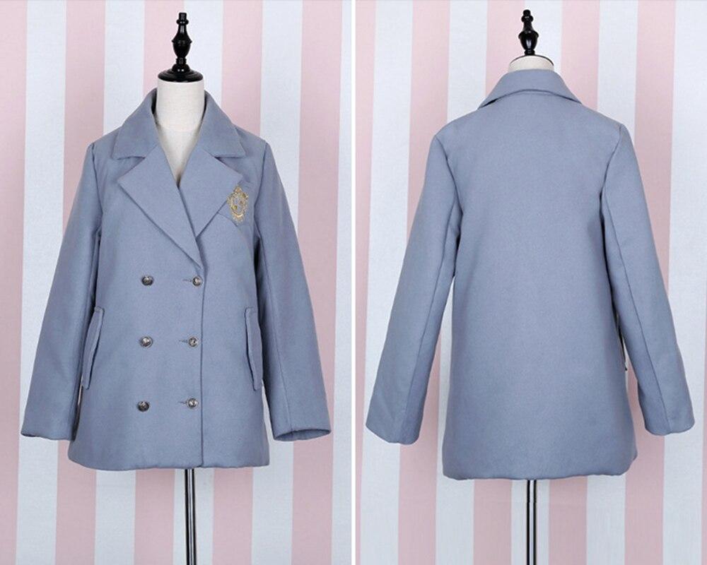 Noir gris Ciel Outwear Filles bleu pu Manches Style Manteau Lolita Cadeau À Preppy Pc Oversize Brodé Hiver 1 Longues Bf ZqUxwHA7B4