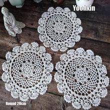 HOT round cotton placemat cup coaster mug kitchen drink table place mat cloth lace Crochet tea dish doily dining Handmade pad(China)