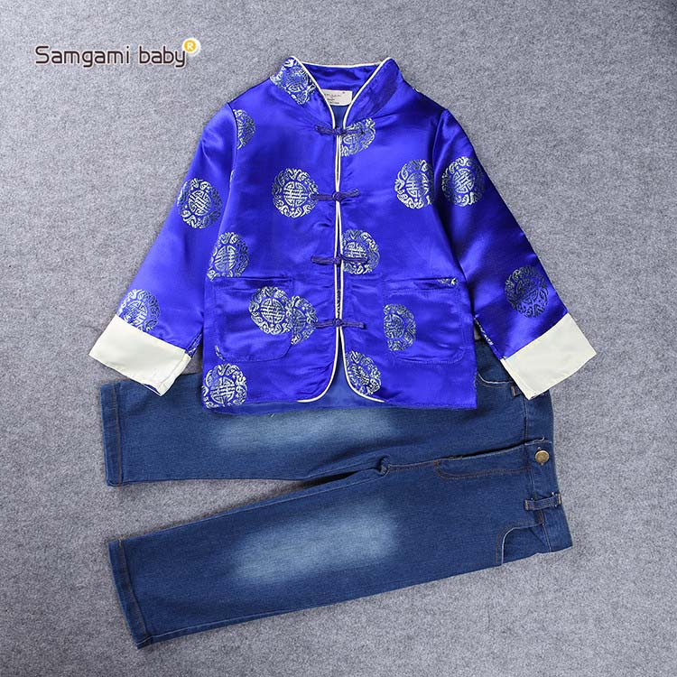Hot Sale New 2017 winter Kids Clothes, Chinese style Collar Long Sleeve Pullover Striped , Casual Boys Clothing jeans Set boy