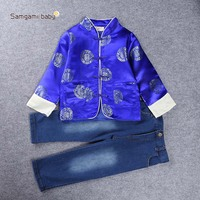 Hot Sale New 2016 Winter Kids Clothes Chinese Style Collar Long Sleeve Pullover Striped Casual Boys