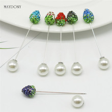 SP129 12 Pcs/Set  Fashion 10mm Shambara Crystal Ball Brooch Pin Muslim Hijab Scarf Pins Scarf Clip Wedding Pin For Women