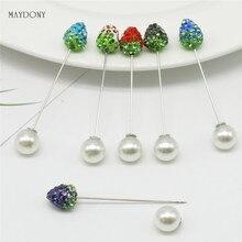 SP129 12 Stks/set Mode 10mm Shambara Crystal Bal Broche Pin Moslim Hijab Sjaal Pinnen Sjaal Clip Wedding Pin Voor vrouwen