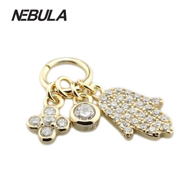 Símbolos 925 Sterling Silver Bead Banhado A Ouro Fit Pandora Colar Pulseira Jóias Charme Hamsa Mão Dangle Com Zircônia Cúbica