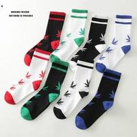 New men and women mid length socks maple leaf trend skateboarding sports socks couple models hemp leaf socks 8 pairs