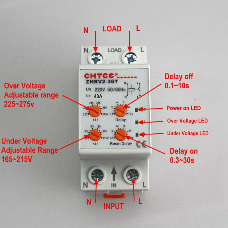 40A 220V Voltage Protective Relay Din Rail Self-resetting Automatic Recovery Over Voltage Protection ZPV36-T Volt Monitor