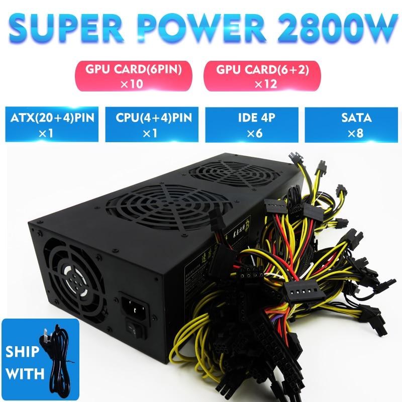 2800 Watt Bergbau Bergmann Netzteil Netzteil Für 6gpu Sata Bitcoin Eth Rig Btc Ethereum High Power Low Noise Strom Für Computer