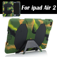 Military Stand Clip Case Cover For IPad Air 2 Case Defender Soft Silicone Thick Case Drop