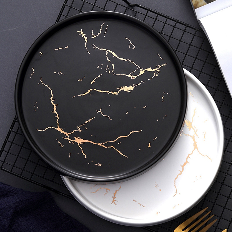 20Cm Tableware Gold Marble Ceramic Dish Porcelain Cutlery Set Kitchen Table European Decorative Dessert Steak Plate