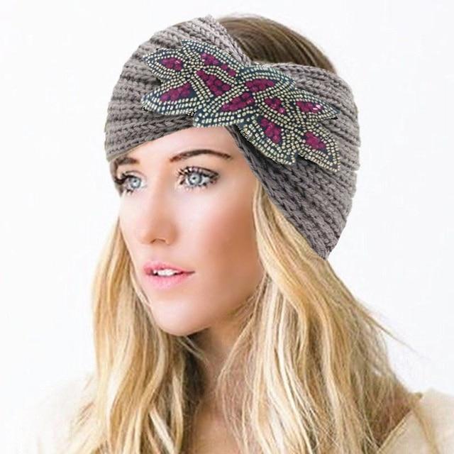 4391a6bf377 Winter Knitted Wool Women Purple Beaded Warm Turban Headband Hairband Head  Wrap Headbands Headwear Party Girls Hair Accessories