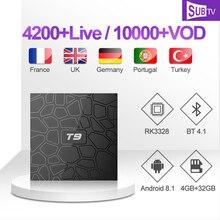 SUBTV IPTV Subscription T9 Polish Arabic IP TV Code RK3328 4G 32G Set Top Box 1 Year Portuguese Turkish Canada Italy Africa