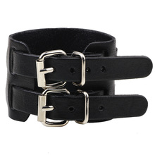 Fashion Double Belt Genuine Leather Wrist Friendship Big Wide Bracelets&Bangles for Men Buckle Vintage Punk Jewelry QNW2167-1