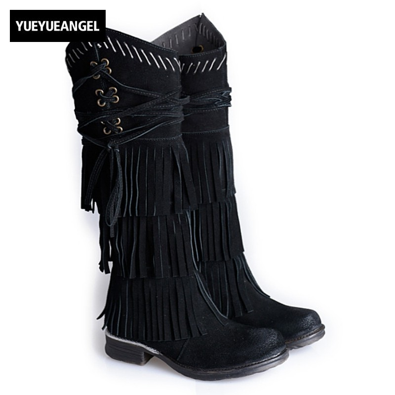 Luxury Cow Suede Women Thick Heels Vintage Casual Fringe Knee High Boots Winter Solid Black Platform Boots Sapatos Plus Size 42 muse solid black fringe trim kimono