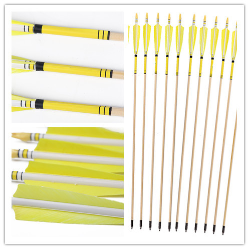 ФОТО Longbowmaker 12PK Yellow Printing Turkey Feathers Cedar Wood Target Practice Arrows WYT1