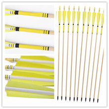 Longbowmaker 12PK Yellow Printing Turkey Feathers Cedar Wood Target Practice Arrows WYT1
