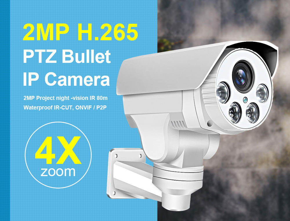 Wireless Full HD 1080P H.265 Bullet IP Cameras PTZ Outdoor Wifi 4X Pan Tilt Zoom Auto Focus 2.8-12mm 4 LED IR 60m Onvif SD Card