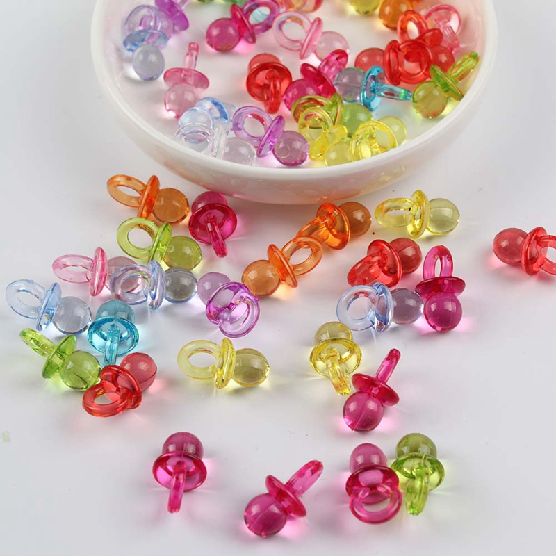 50pcs Multicolor Acrylic Crystal Baby Pacifier Charm Pendants Beads For Kids Handmade DIY Baby Pacifier Accessories