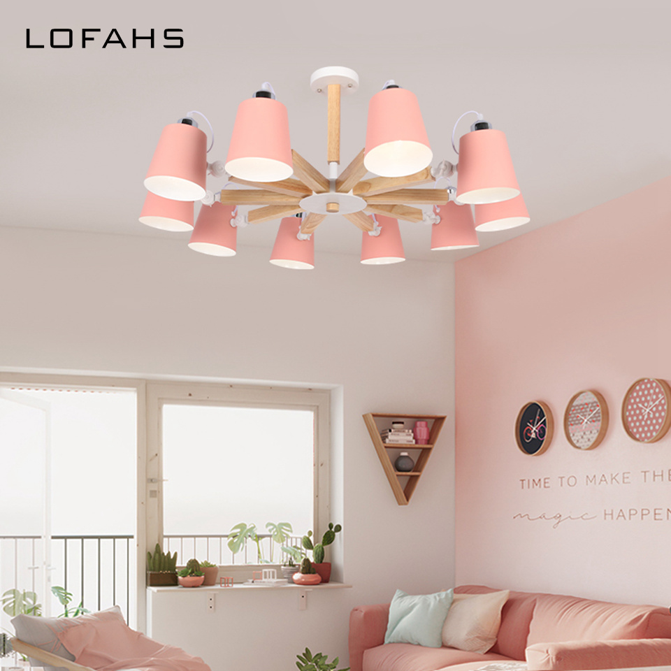 6 cores Pingente Chandelier iluminação Casa Moderna LEVOU Lustre abajur Rotatable Para Jantar Sala de estar quarto quarto de Criança