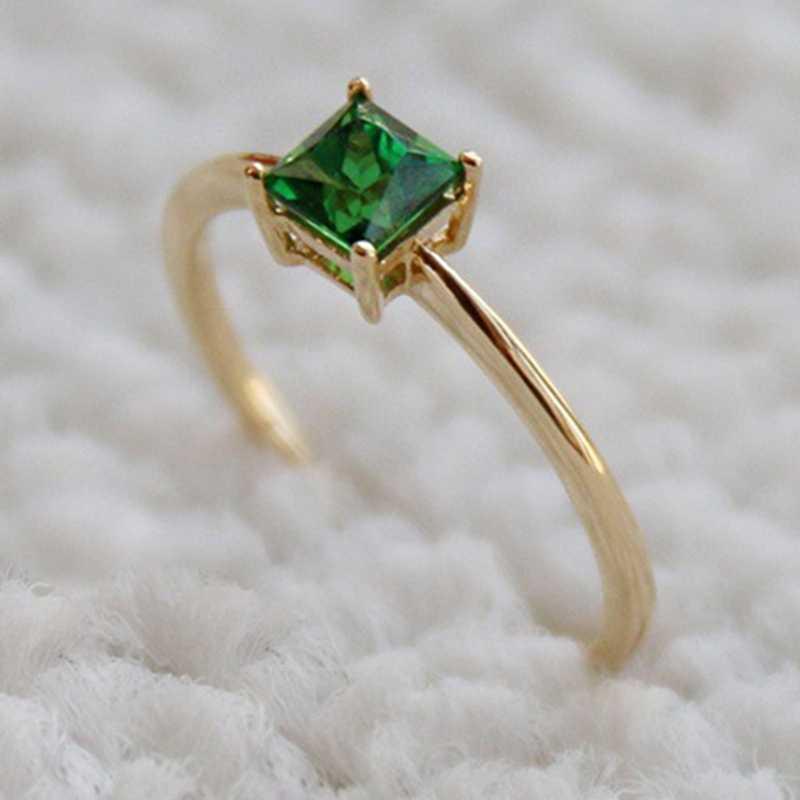 Anillo de diseño de moda anillos cuadrados grandes de piedra verde para mujer joyería de boda regalo de compromiso anillos de piedra con incrustaciones de lujo