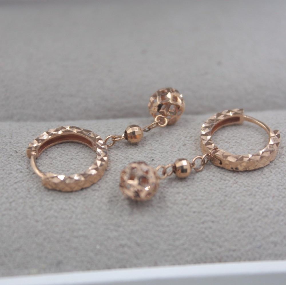 Pur 18 K or Rose sculpté petites boucles d'oreilles personnalisé balle cadeau mignon boucles d'oreilles 2-2.2g tous les jours bijoux creux - 3