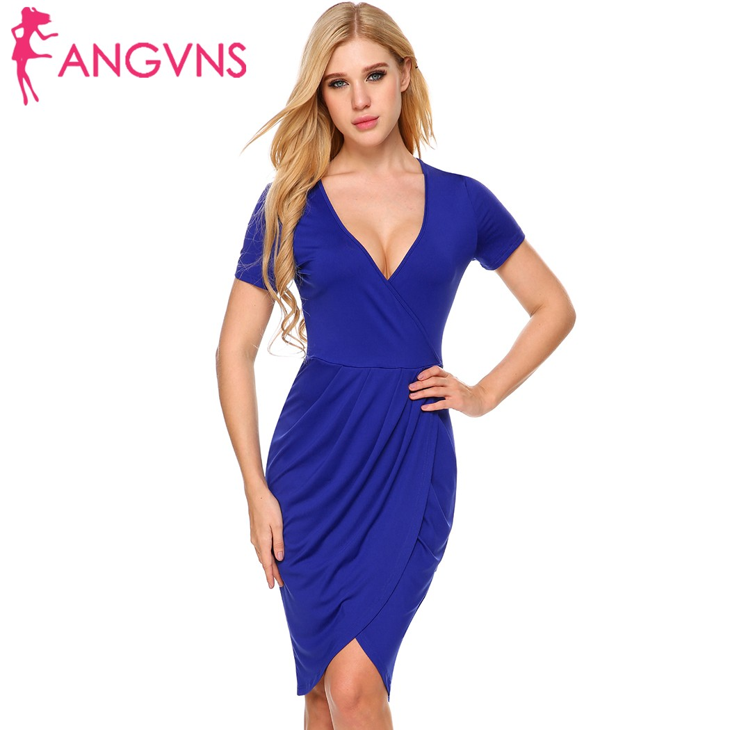 c6623a63bbda ANGVNS Women Office Bodycon Dress Elegant Deep V Neck Work Peplum Short  Sleeve Draped Faux Wrap Back Split Sheath Pencil Dress-in Dresses from  Women s ...