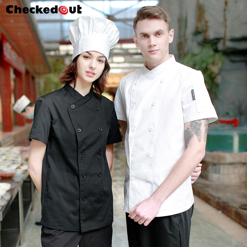 New Short-sleeved Summer Clothes Hotel Kitchen Jacket Dining Room Uniform Men And Women Cooks' Overalls Wear Plus Size B-6255