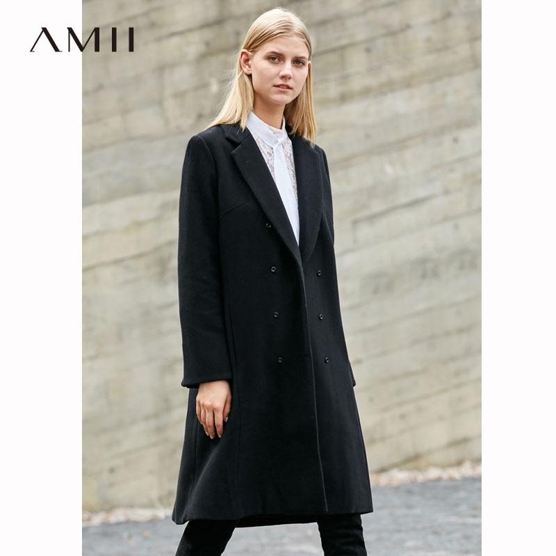 Amii Minimaliste Laine Manteau Femmes D'hiver 2018 Bureau Solide Double Breasted Lâche Causalité Outwear Femmes Longue De Laine Vestes