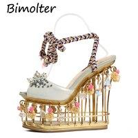 Bimolter золотой цветок сандалии женские Супер Высокий Каблук 15 см свадебные туфли на платформе с ремешками на лодыжках Пряжка Роскошные вечер