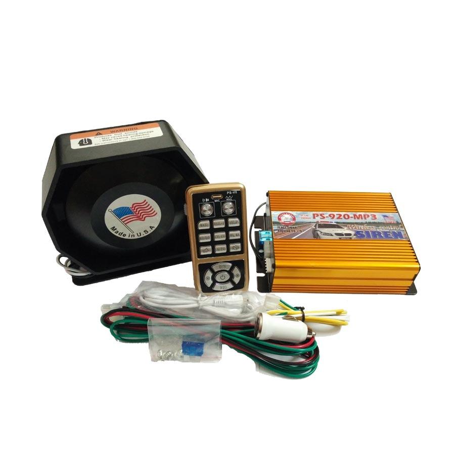 ФОТО Car Styling 200W 12V Police Siren AS920-MP3 Gold Amplifier Metal Ultra Slim Speaker Car Siren Set Alarm Wireleless Loudspeaker