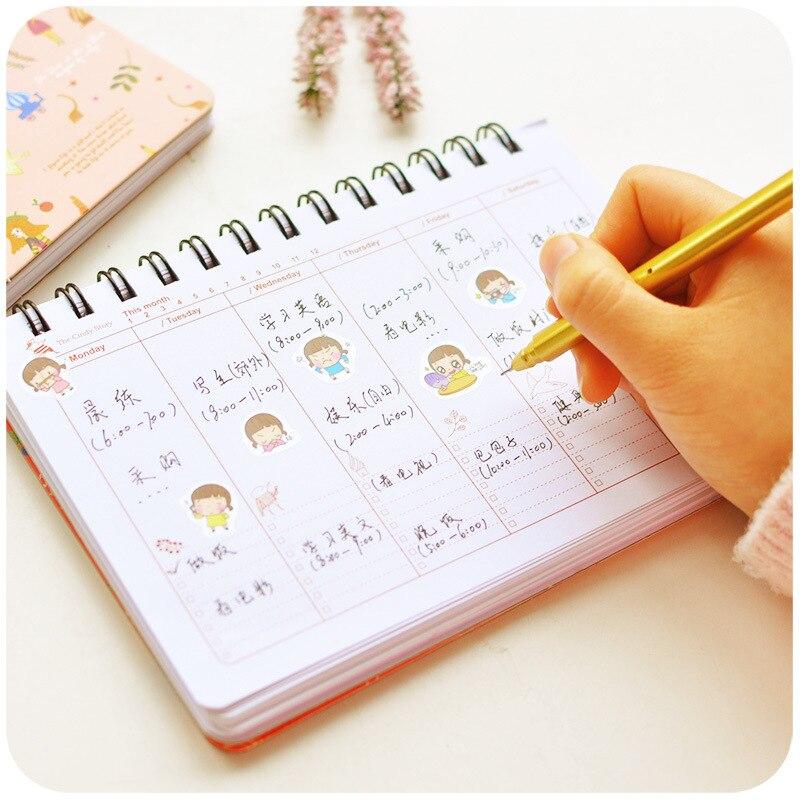 Blooming Flower Notebook Coil Spiral Weekly Planner Notebook Agenda Diary Sketchbook Cute Stationery 4 Colors School Supplies