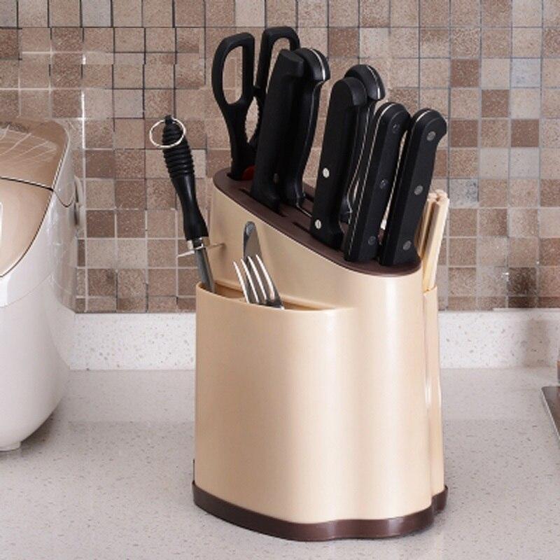 Creative Plastic Kitchen Knife Holder Multifunctional Kitchen Knife Ceramic Fork Storage Rack Knife Stand Inserted Knife Block