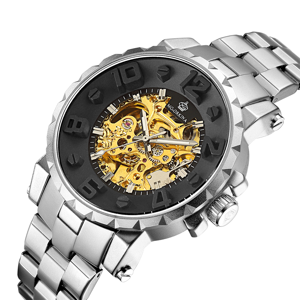 ORKINA Mens Watches Top Brand Luxury Golden Skeleton Automatic Mechanical Watch Floating Numerals Relogio Masculino