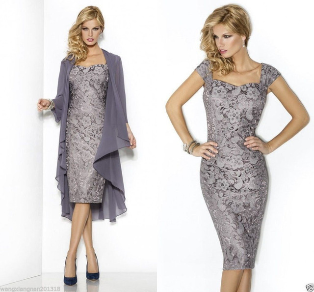 8698fdb5e717 Slim Sheath Cheap Grey Mother of the Bride Dresses 2016 Lace Knee Length  with Jacket Coat