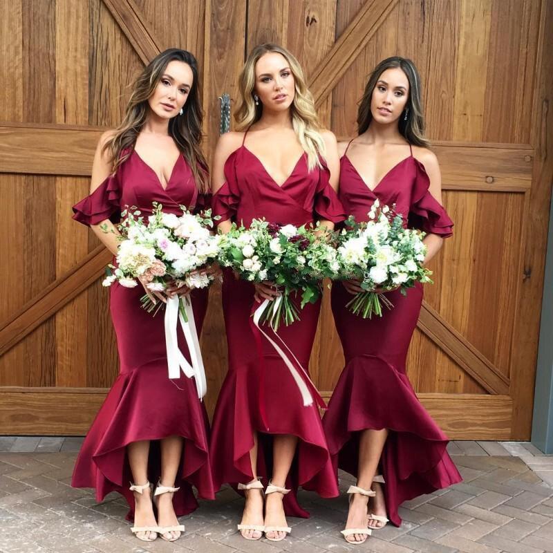 2019   Bridesmaid     Dresses   V Neck Satin Tea Length Boho   Bridesmaid     Dresses   Royal Blue Purple Maid of Honor