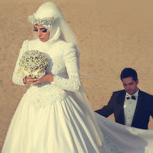 Lace Long Sleeve Satin Ball Gown Hijab Muslim Wedding Dress Bridal Gown robe de mariage