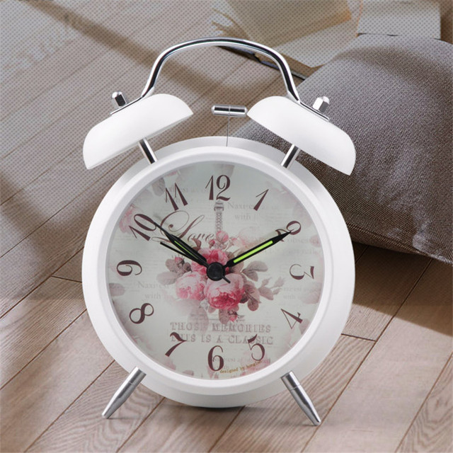 vintage alarm clock with floral pattern background bedside desk table clock for kids children schoolboys girls