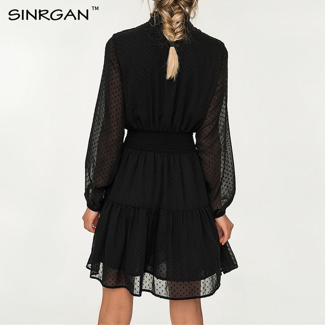 SINRGAN Black lace up hollow out mini dress women vestidos Long sleeve elastic waist party dress 2
