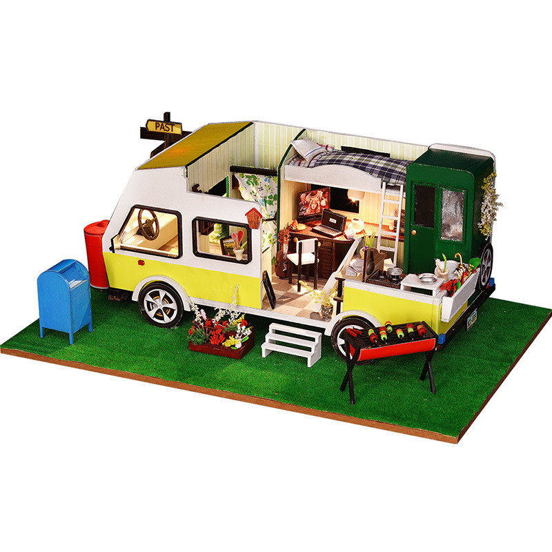 Miniature Car Shape Dollhouse RV Puzzle Furniture Kits DIY Wooden Dolls House LED Lights Birthday Gift For Kids