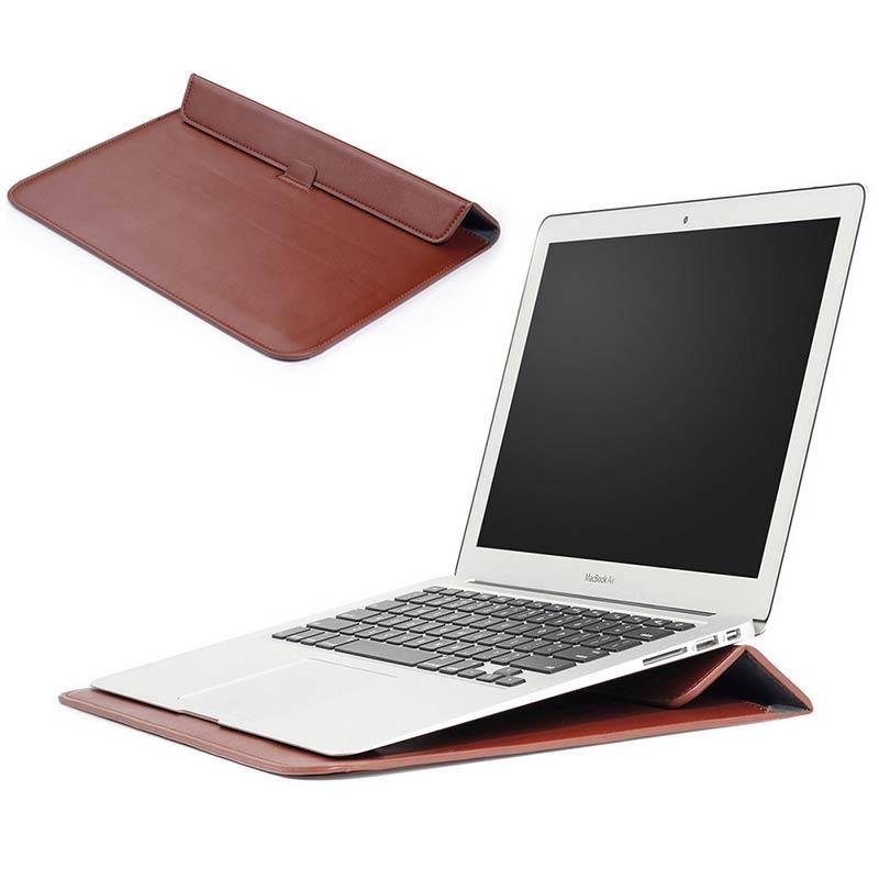 "Universal <font><b>Laptop</b></font> Sleeve <font><b>Case</b></font> Macbook Air Pro 11"" 15"" inch Leather <font><b>Folio</b></font> Stand Holder"