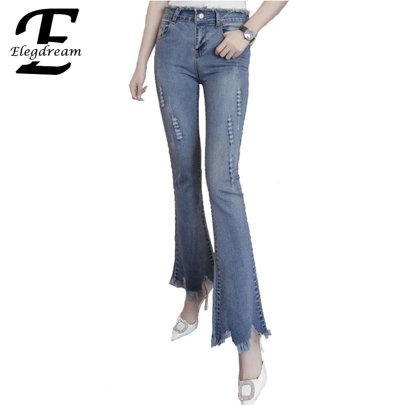 Elegdream Clothing 2017 New Spring Women Plus Size S 5XL Denim Pants Vintage Ladies Jeans Girl Flare Leg Casual Trousers XXXXXL levi s vintage clothing платок