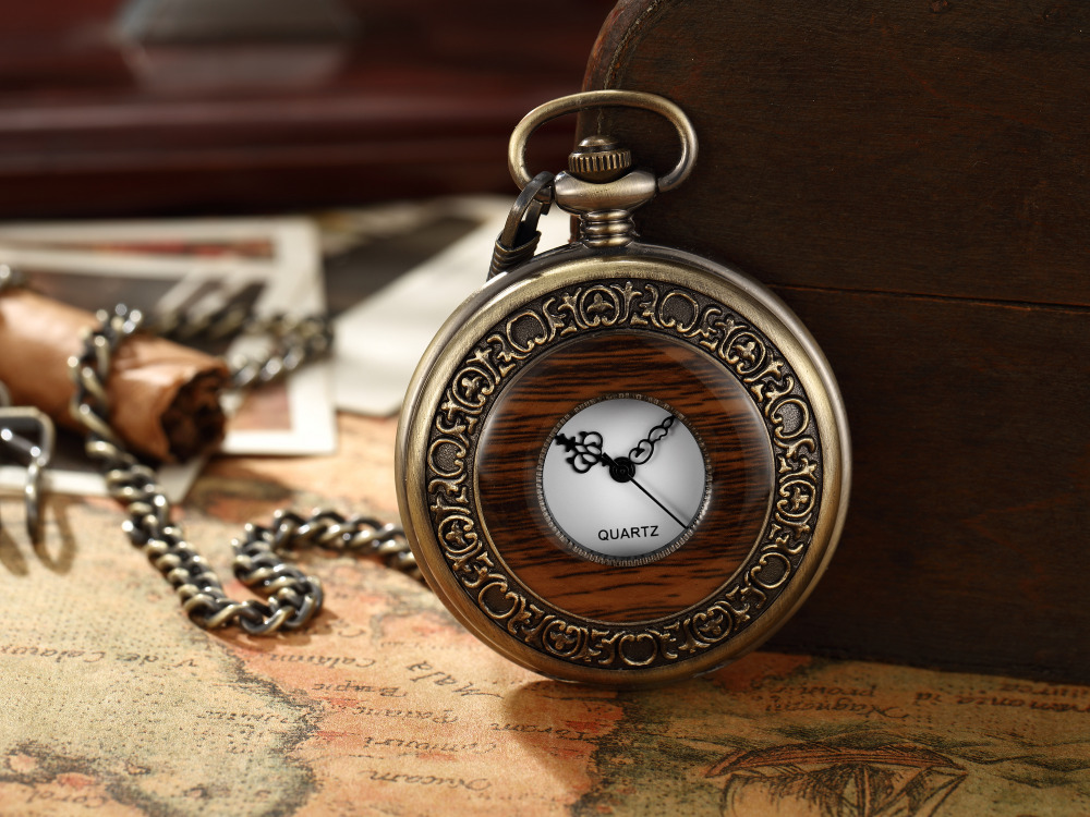 Box Package Solid Wood Mechanical Pocket Watch FOB Chain Locket Dial Hollow Steampunk Skeleton Men Women Mens Male Clock Watches 15