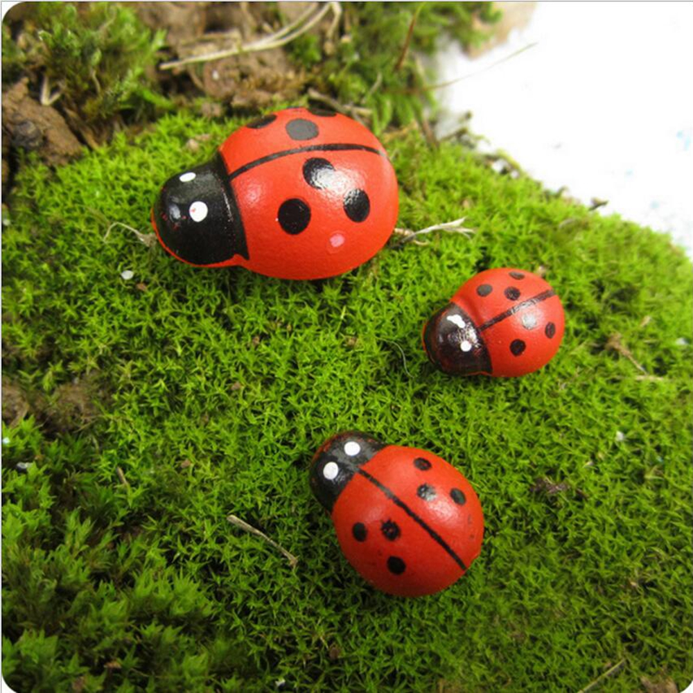 10pcs Artificial Wooden Beetle Cartoon Mini Seven Star Ladybug Moss Micro Landscape Art Decoration Diy Garden Plant Decoration Good For Antipyretic And Throat Soother Artificial & Dried Flowers