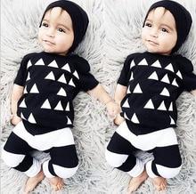 Newborn baby boy clothes Sets Toddler cotton baby girl wear Short sleeved T shirt pants 2pcs