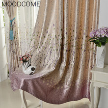 2018 New Curtain Bedroom Living Room Jacquard Printing Double-sided Blackout Curtain Fabric Leaves Garden Curtain Romantic